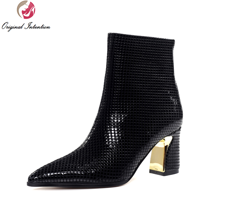Original Intention High-quality Women Ankle Boots Fashion Pointed Toe Square Heels Boots Elegant Black Shoes Woman US Size 4-9 original intention high quality women ankle boots pointed toe square heels boots fashion black brown shoes woman us size 4 10 5