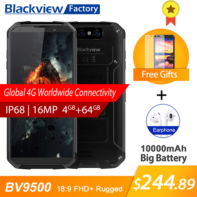 "BLACKVIEW BV9500 IP68 waterproof 5.7""18:9 FHD Smartphone 4G Android 8.1 4GB+64GB 10000mAh wireless charging NFC mobile phone GPS"