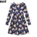 Famli 6Y-12Y Kids Autumn Floral Dress Girls Spring Casual Flower Printed Long Sleeve Children 6 8 10 12 Princess Party Dress