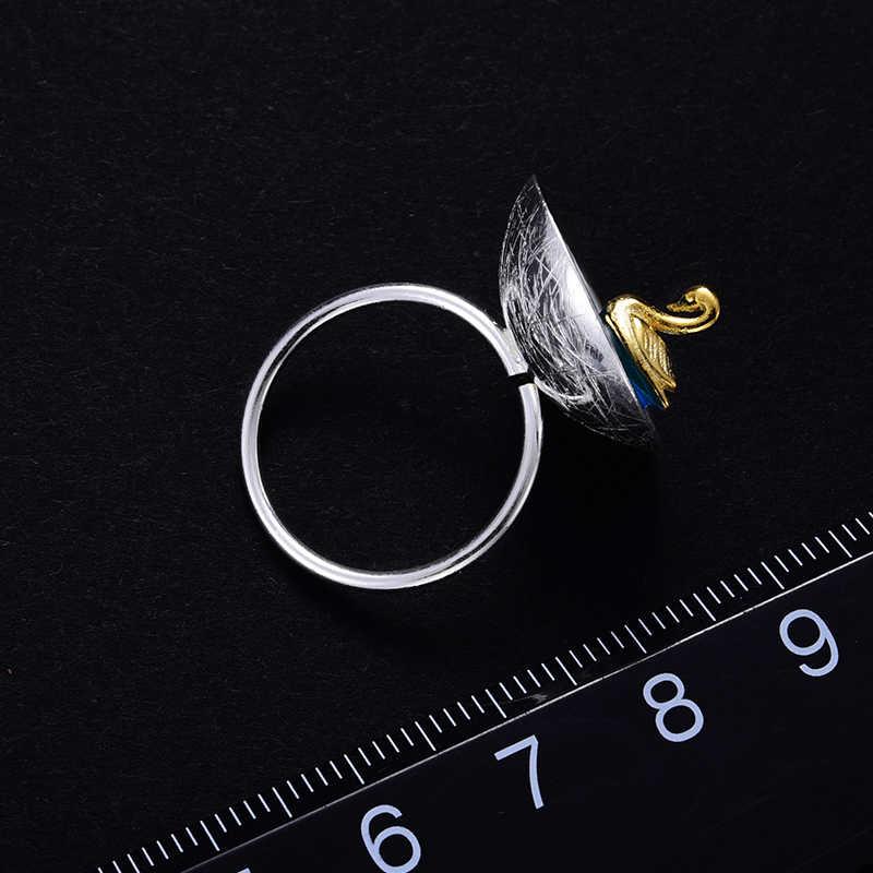 Lotus весело момент Настоящее стерлингового серебра 925 природных творческий ручной дизайнер ювелирных украшений поэтический лебедь в море кольца для для женщин