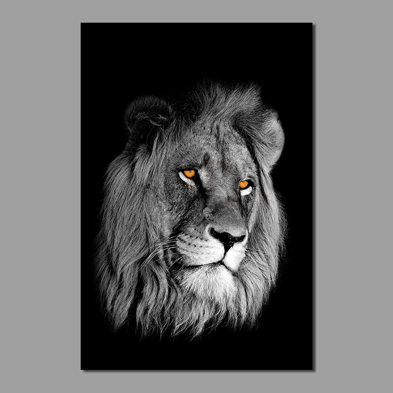 Gold Grland King Animal Lion Living Room Kids Decoration Black White Canvas Printed Painting Wall Art Pictures Unframed
