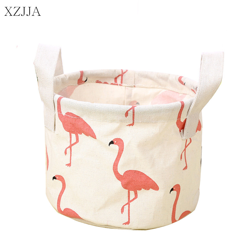 XZJJA Cute Flamingos Cotton Linen Sundries Storage Box Baskets Foldable Dresser Desktop Makeup Organizer Cosmetics Container ...