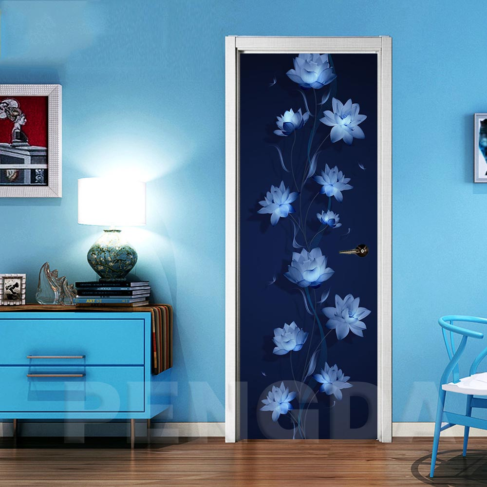 Door Stickers Canvas Home Decor Lotus Self Adhesive Renew PVC Poster Print Art Picture Waterproof Wallpaper For Children Room