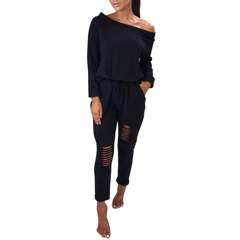 Free Ostrich Womens Off Shoulder Long Sleeve Ripped Casual   Jumpsuit   Women's word collar long-sleeved solid color   jumpsuit   D0635