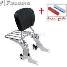 Motorcycle Chrome Sissy Bar Backrest Cushion Pad Detachable Luggage Rack Bracket for Harley Sportster XL 883 1200 2004-2017 black detachable rear passenger sissy bar backrest luggage rack with cushion pad for harley sportster xl1200 xl883 2004 2017