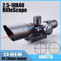KINSTTA 2.5 10x40 Dual Illuminated laser Riflescope Rifle scope Cut Sunshade with Red Laser For Hunting CS Battle