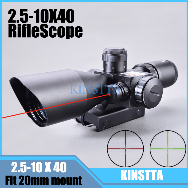 KINSTTA 2.5-10x40 Dual Illuminated laser Riflescope Rifle scope Cut Sunshade with Red Laser For Hunting CS BattleKINSTTA 2.5-10x40 Dual Illuminated laser Riflescope Rifle scope Cut Sunshade with Red Laser For Hunting CS Battle