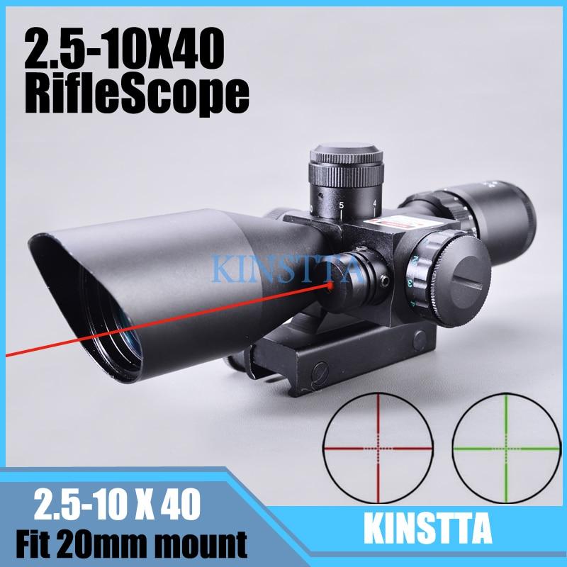 KINSTTA 2.5-10x40 Dual Illuminated Laser Riflescope Rifle Scope Cut Sunshade With Red Laser For Hunting CS Battle