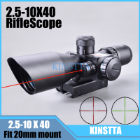 KINSTTA 2.5 10x40 Dual Illuminated laser Riflescope Rifle scope Cut Sunshade with Red Laser For Hunting CS Battle