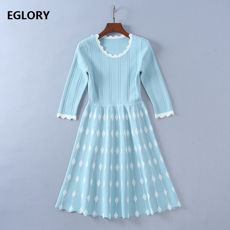 2018 Spring Autumn Knitted Dress Women O-Neck Three Quarter Sleeve Geometric Patterns Knit Large Swing Casual Sweater Dress New ny collection new blue women s size large l wide knit v neck sweater $60 083