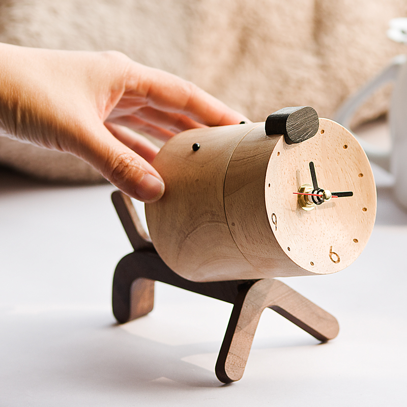 Solid Wood Alarm Clock Creative Personality Lovely Solid Animal Desktop Electronic Small Mute Creative Home Decoration HandmadeSolid Wood Alarm Clock Creative Personality Lovely Solid Animal Desktop Electronic Small Mute Creative Home Decoration Handmade