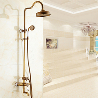 Single Handle Round Rain Shower Head Antique Brass Mixer Tub Tap Blue And White Base Porcelain