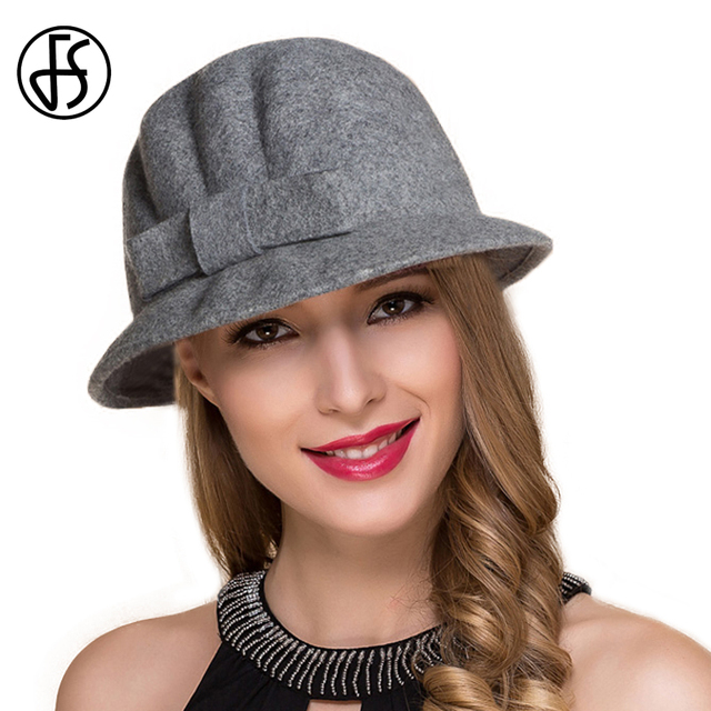FS Autumn Winter Cloche Hat Wool Felt Fedoras For Women Vintage British  Style Church Hats Gray Short Brim Bow Fedora Dome Cap 77344d25801