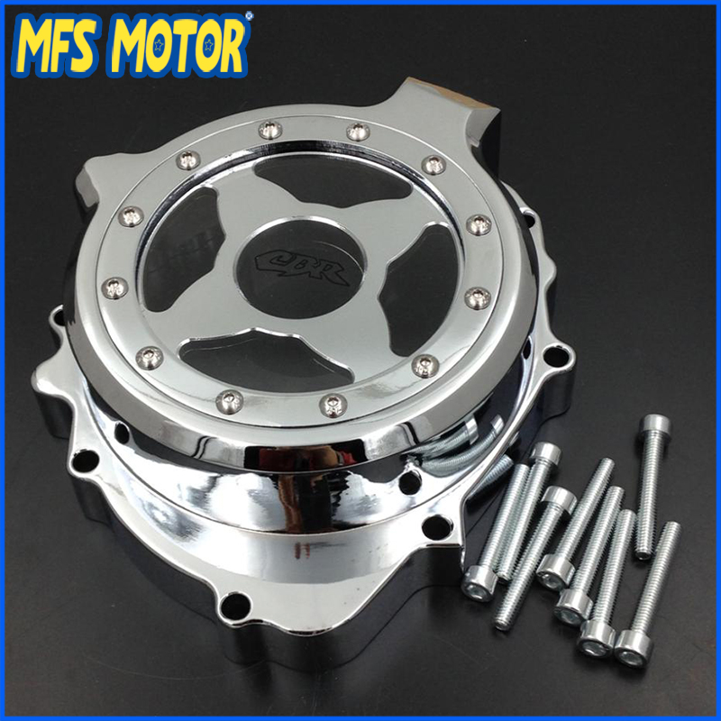 Freeshipping Motorcycle left side Engine Stator cover see through For Honda CBR600RR 2003 2004 2005 2006 CHROME arashi motorcycle parts radiator grille protective cover grill guard protector for 2003 2004 2005 2006 honda cbr600rr cbr 600 rr