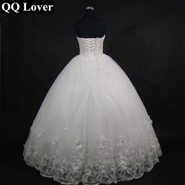 QQ Lover 2019 Elegant Luxury Lace Wedding Dress Vintage Plus Size Ball Gowns Vestido De Noiva 3