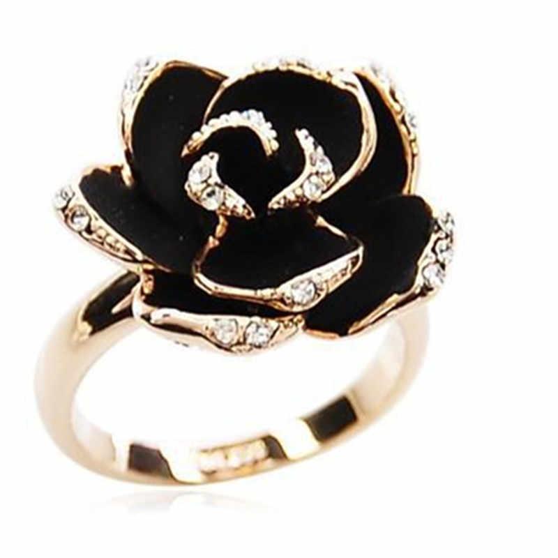 Moda Rosa cristal Diamante negro de imitación anillo de apertura para mujer caliente moda senhora elegante joyería delicada regal
