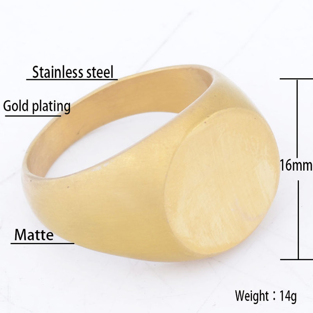 EdgLifU Men's Signet Ring Simple Oval Matte Gold Seal Rings Stainless Steel fashion Signet Ring for Men Anel Jewelry