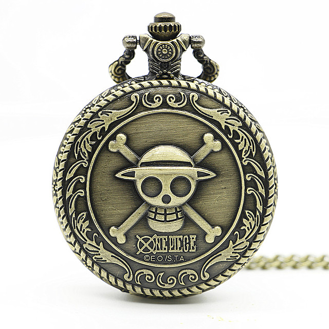 New Arrival Bronze Steampunk Skull One Piece Pocket Watch Cartoon Anime Watch On