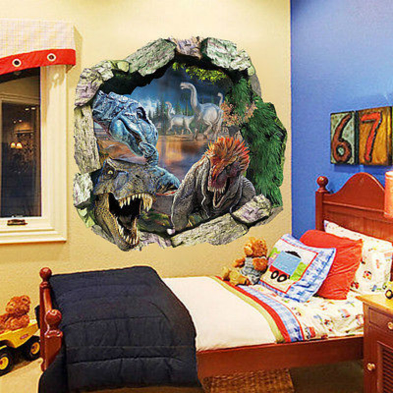 Gorgeous D Dinosaur Wall Art Decorating Inspiration Of - 3d dinosaur wall decalsd dinosaur wall stickers for kids bedrooms jurassic world wall