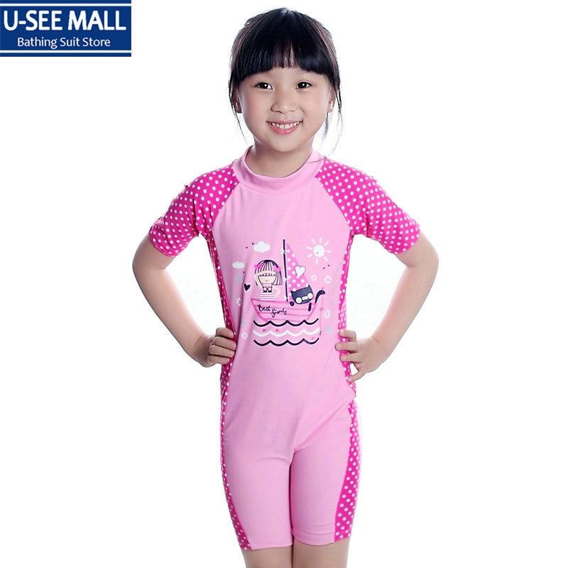 2016 New Little Girls One Piece Swimwear Cute Pink Dots -6727