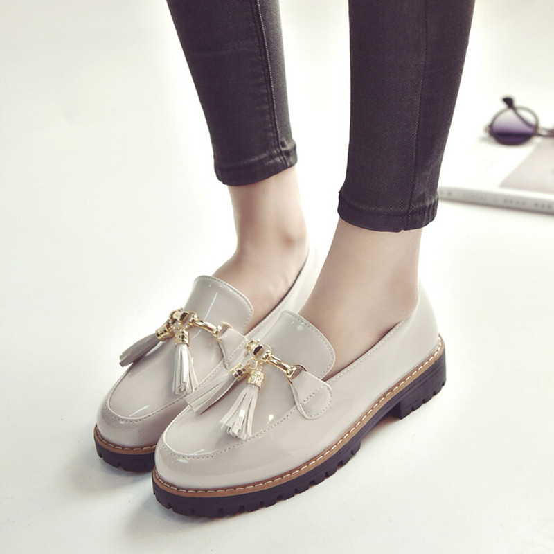 HEVXM 2017 spring new ladies fashion with thick sets tassel small shoes women Korean version wild single shoes student shoes 2016 new spring and summer fashion thick with the heel lace leisure wild white shoes student shoes for women boots