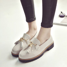 HEVXM 2017 primavera nuevas señoras de la manera con conjuntos gruesas borla zapatos pequeños zapatos de las mujeres versión Coreana salvaje zapatos de un solo estudiante
