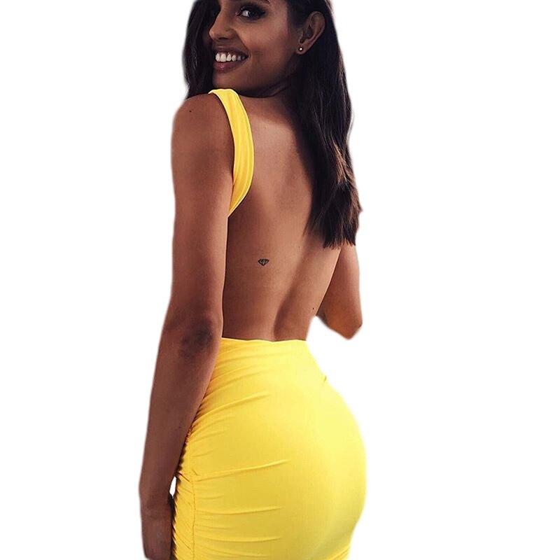 Сексуальное летнее платье с открытой спинкой, 2018 облегающее Короткое облегающее платье-карандаш для клубных вечеринок, повседневное пляжн...