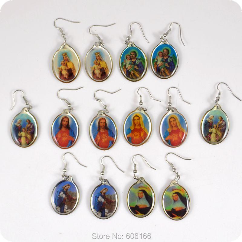 10 pairs Virgin Mary Holy Family Drop Earrings Fashion ...