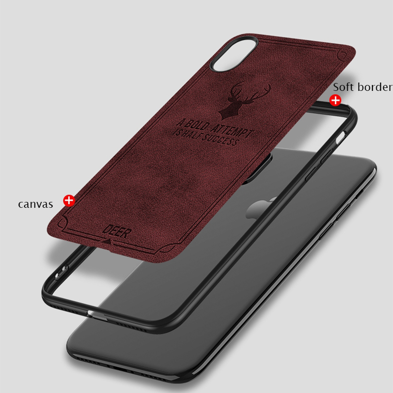Suntaiho Canvas Silicone Phone Case for iphone X 8 8 Plus Cloth Skin Soft TPU Case for iphone 6 6s 7 7 Plus X back cover case