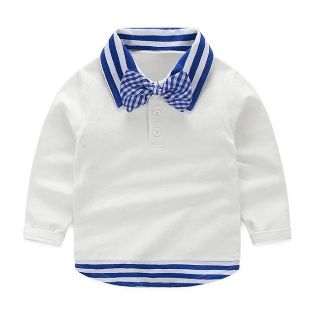 LittleSpring 2017 Primavera Remiendo de La Raya de Los Bebés de La Manera Camiseta de Manga Larga Del Estilo de Inglaterra Caballero Formal Bowknot Tee Tops