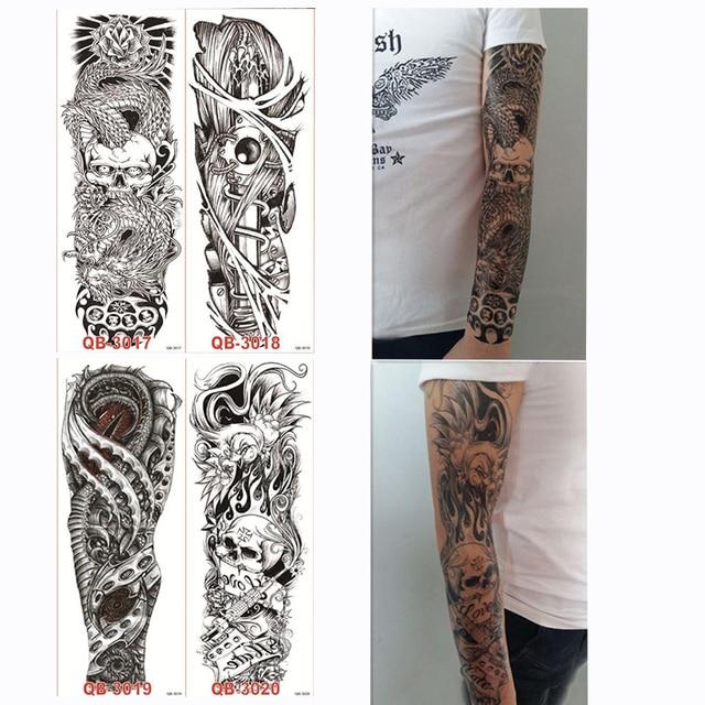 4 Piezas Temporal Gran Brazo Completo Tatuaje Pegatina Calavera Rosa