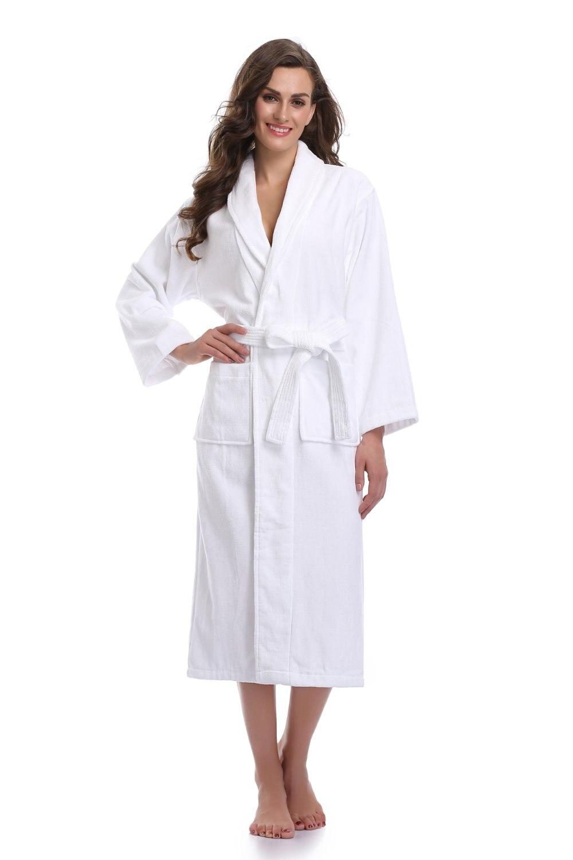 100% Turkish Terry Bath Robe Warm Cotton Female Sexy Bridal Bridesmaid Long Plush Bathrobes White Dressing Gowns For Women Dress