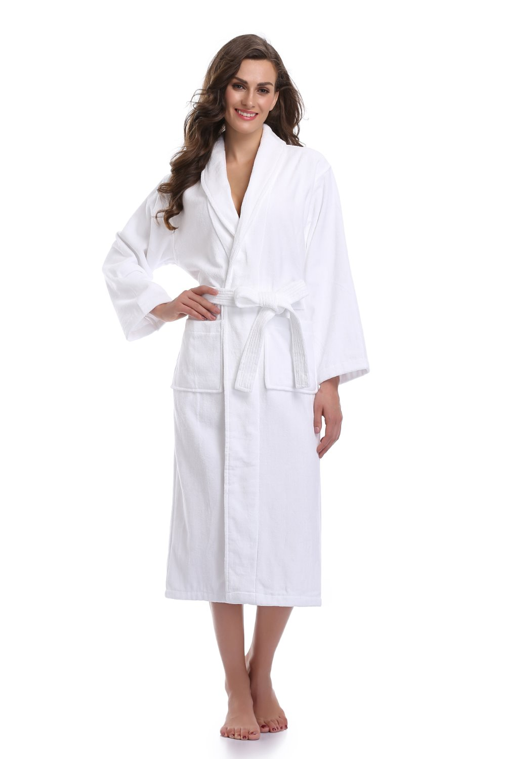 Colorfulkoala Robe Womens 100% Turkish Terry Cotton Bath Robe Long Plush Robes White Bathobe ...
