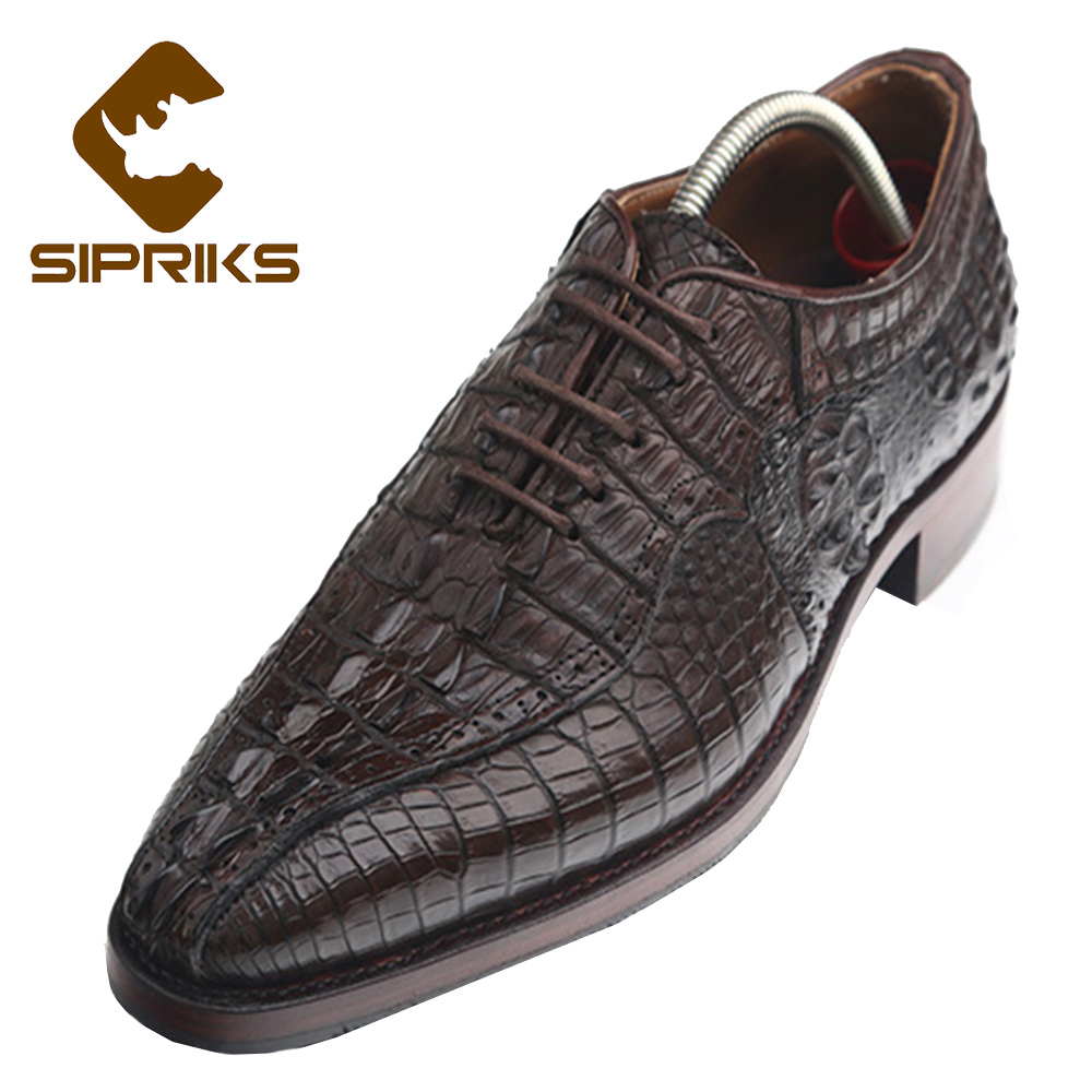 Formal Shoes Sipriks Handmade Goodyear Welted Oxford Shoes Mens 100% Brown Alligator Skin Leather Shoes Boss Crocodile Skin Leather Shoes New