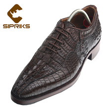 SIPRIKS handmade goodyear welted oxford shoes mens 100% brown alligator skin leather shoes boss crocodile skin leather shoes new