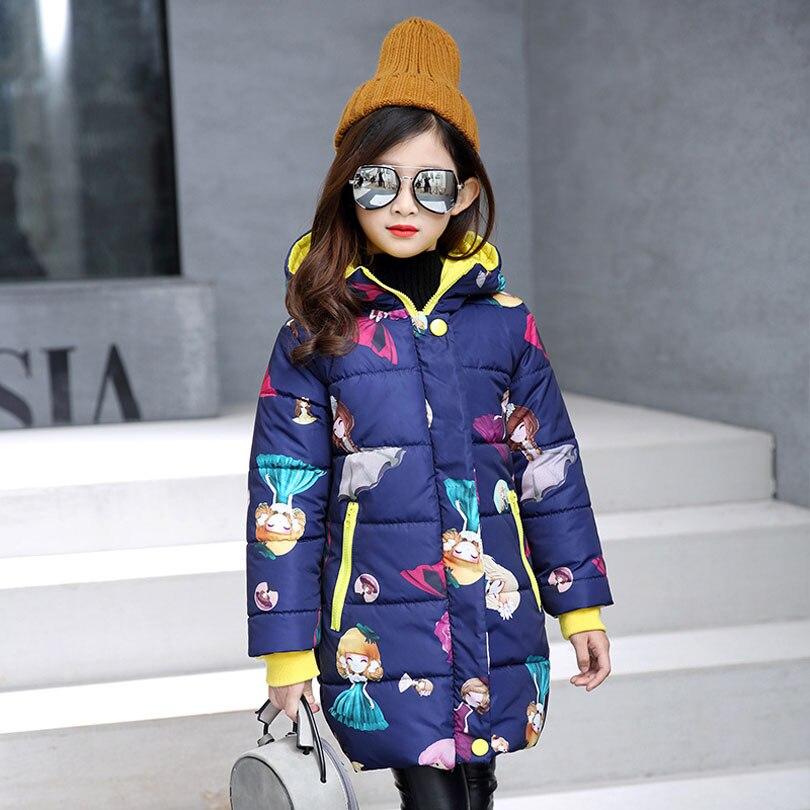 Brand Girls Cotton Coat Winter Fashion Long Sleeve Hooded Cartoon Jacket Teenagers Casual Warming Zipper Outwear Clothes 4-12Y casual long sleeve zipper fly cartoon pattern jacket for boy