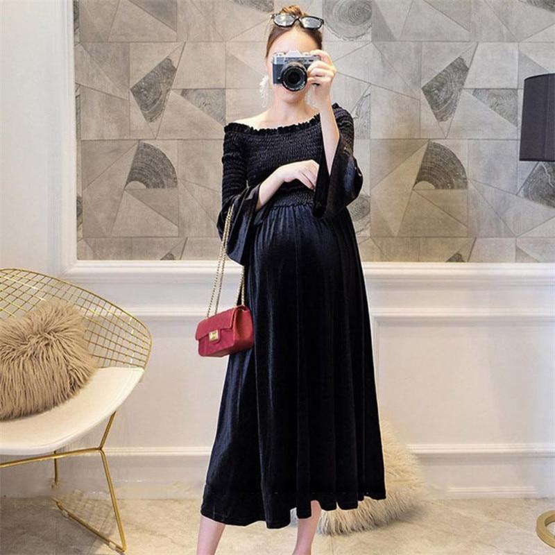 wholesale drop shipping Women Pregnants Sexy Baby For Maternity Off Shoulder Velvet Nursing Long Dress Fashion casual S3JUN11