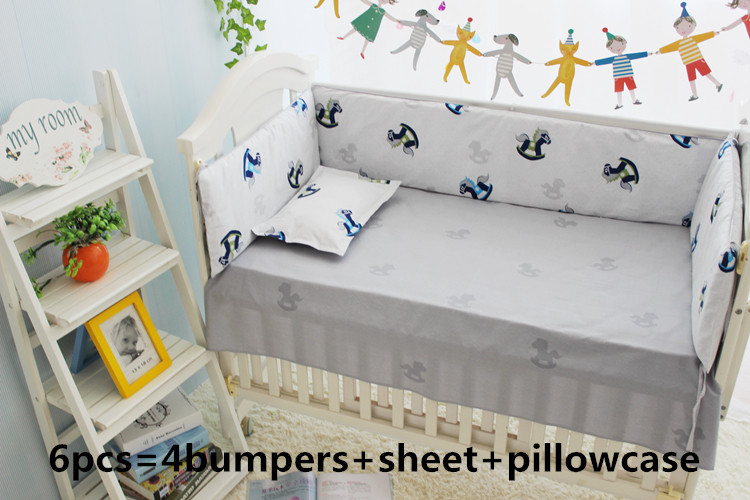 Promotion! 6PCS Baby Cot Crib Bedding Sets,Baby Nursery Bed Kits set,Baby Bumpers Sheet Animals (bumper+sheet+pillow cover) promotion 6pcs baby bedding set curtain crib bumper baby cot sets baby bed bumper include bumpers sheet pillow cover