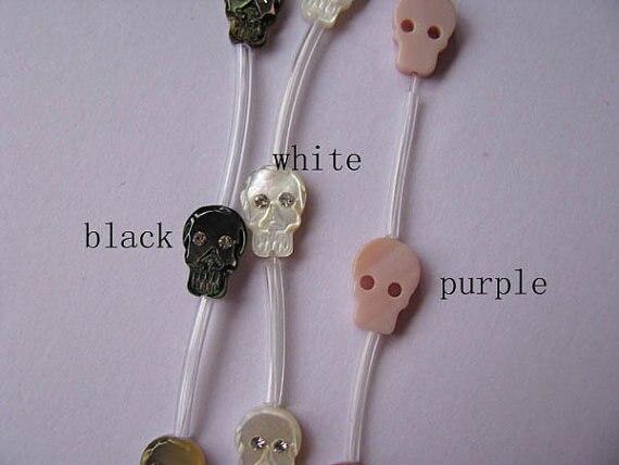 2 brins 30 pièces 8x12mm, Top qualité, coquille de vadrouille nacre crâne squelette noir rose assortiment cabochons perles
