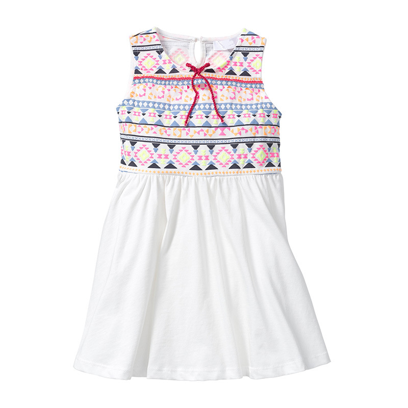 Little Maven New Summer Kids Lovely Sleeveless Colorful Ethnic Printed Drawstring O-neck Kintted Cotton Girls Fashion Dresses