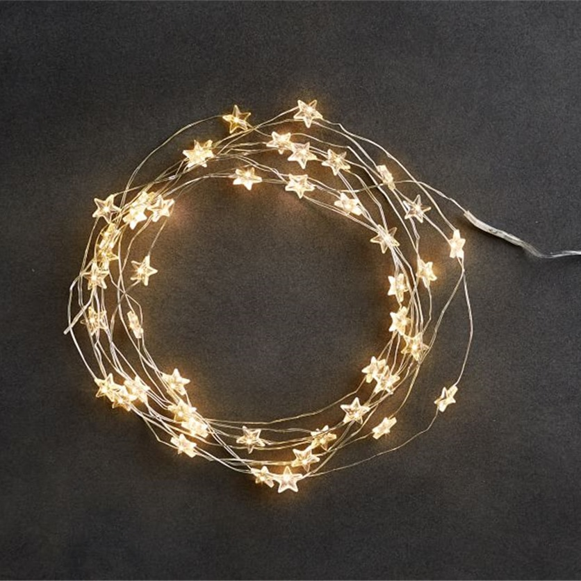 >Star String LED Decoration <font><b>Lights</b></font> AA Battery Operated 4M Copper <font><b>Light</b></font> String Decorative Xmas Snowflake Garland for Bedroom Party