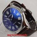 44 мм parnis черный циферблат 6497 механические мужские часы с ручным заводом P807