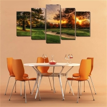 Home Decor Modular Picture Golf Course Trees Sunset Landscape Wall Posters Prints Canvas Painting for Living Room Art