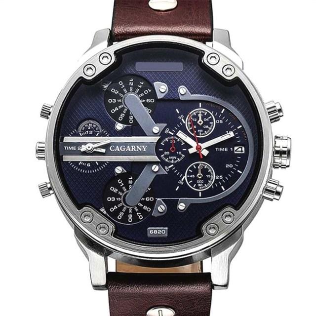 NATATE Luxury Brand Men Quartz  Watch Dual Movement Watch CAGARNY Waterproof Sport Military Wrist Watch 0840