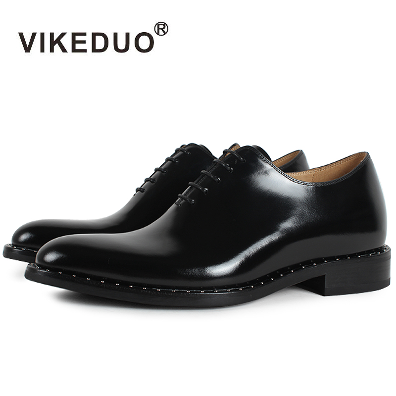 Vikeduo 2018 Flat Handmade Black Designer Lace-up Luxury Business Work Dance Male Shoe Genuine Leather Mens Oxford Dress Shoes
