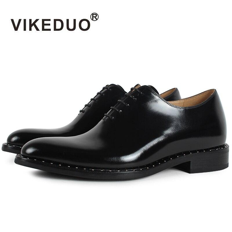 Vikeduo 2018 hecho a mano plana negro diseñador de lujo negocio trabajo danza zapato masculino cuero genuino para hombre vestido de Oxford zapatos