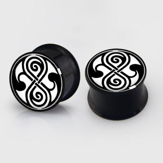 2 pieces time seal plugs anodized black ear plug gauges steel flesh tunnel earlets body piercing jewelry 1 pair