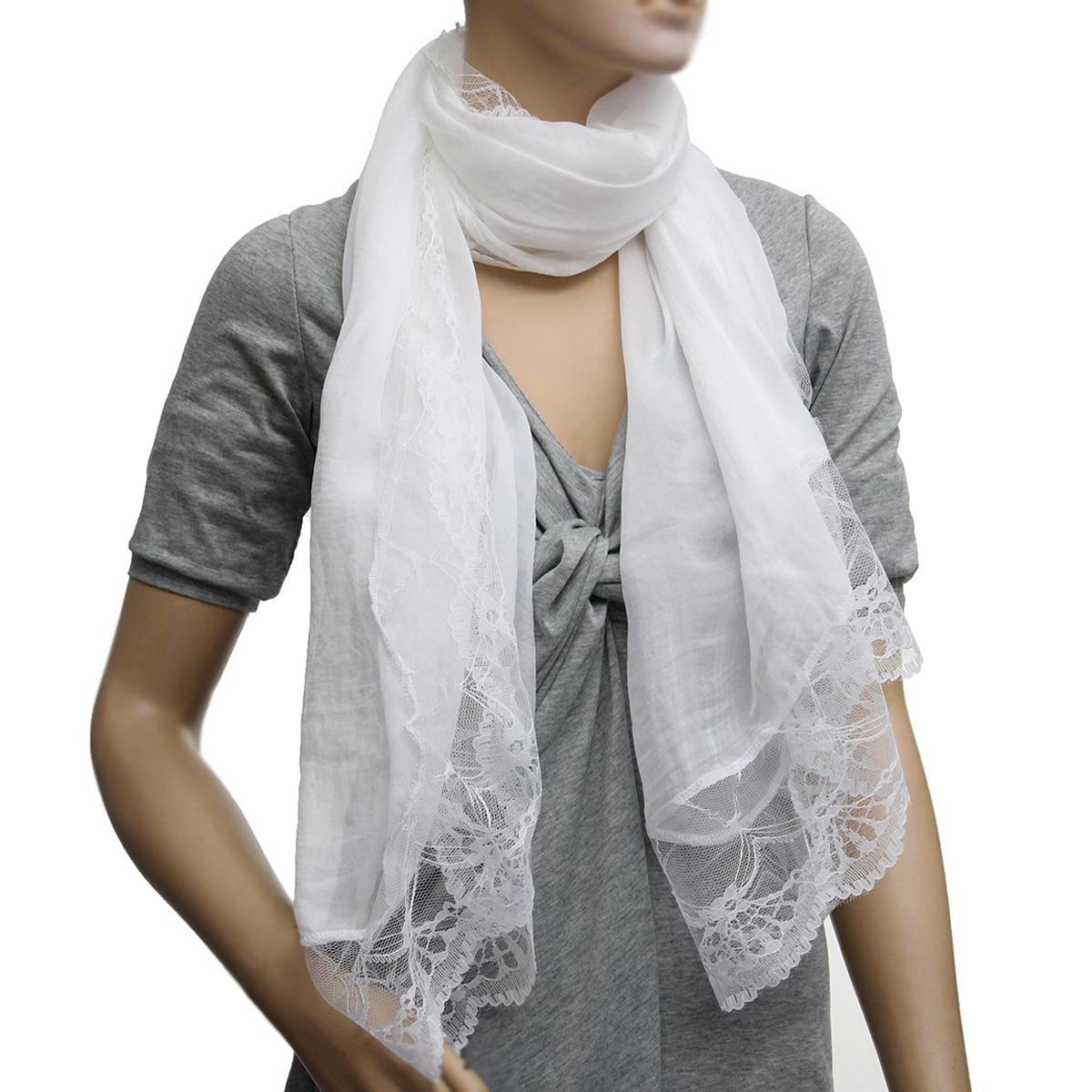 MYTL-Woman Scarves Chiffon Lace Scarf Wrap Scarf white