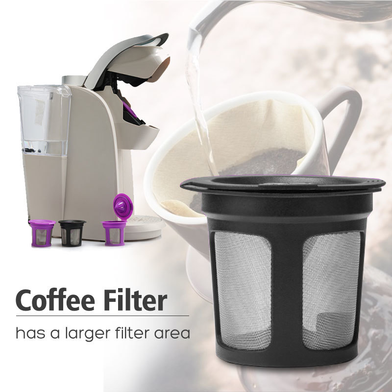 Coffeeware Coffee Filter Reusable PP Mesh Cup Coffee Tea Filters Leach Kicthen Table Drinking Tools for KEURIG 2 K200 K250 Black