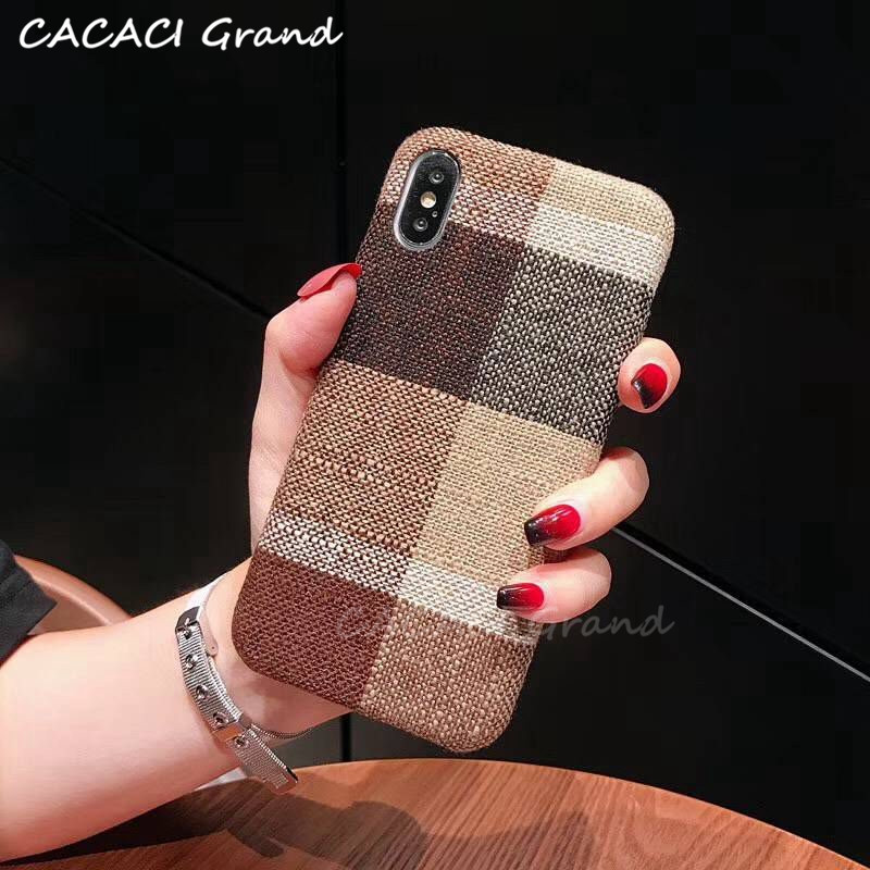 Flannel Fabric Canvas Silicon Phone Case For iphone 7 8 6 6s Plus X Xs Max Xr 5 5s SE Cloth Texture Soft Protective Cover Coque